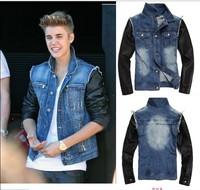 Brand New Mens VINTAGE motorcycle pu leather sleeve Denim Jean Jacket Coat Free shipping