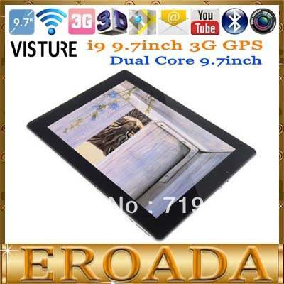 VISTURE i9 3G GPS Free shipping 9.7inch Tablet Built in 3G GPS Bluetooth WiFi Dual Core 1.2G MTK 6577 CPU 5MP Back Camera WIFI(China (Mainland))