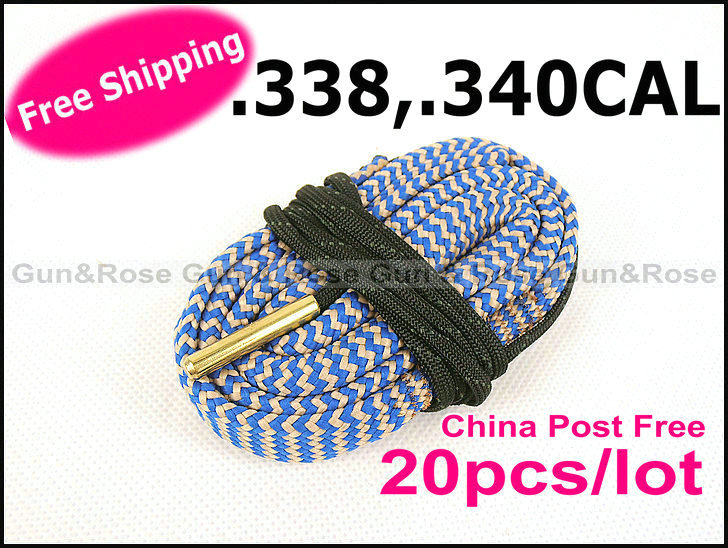China Post Air Free Shipping Gun&amp;Rose 20pcs/lot .338,.340 CAL Bore Snake Rifle Bore Cleaner Cleaning kit Shotgun top quality(China (Mainland))