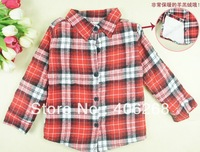 free shipping  2013 new best quality fashion brand Children clothing thicken Plaid shirt boy's shirt