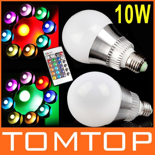 AC 85-265V RGB LED Lamp 10W E27 led Bulb Lamp with Remote Control led lighting free shipping(China (Mainland))