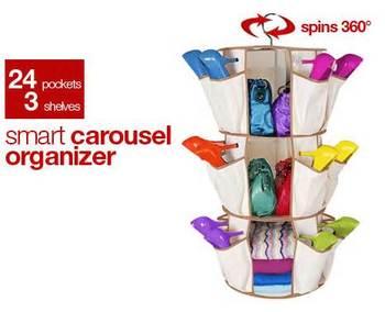 Free shipping,3 Shelves 24 pockets Hanging Carousel Shelf Organizer