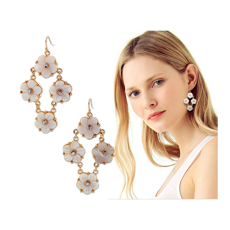 PDRE-SJ234,Wholesale ,New Style ,Crystal Earrings ,conch flower Earrings , Alloy(China (Mainland))