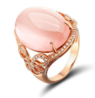Y11 18 card 925 pure silver ring female diamond natural pink crystal chalcedony rose gold ring gem