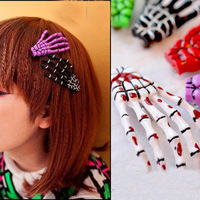 Free Shipping 2013 personality exaggerated skull bone hand claws hair ornaments blood skull hairpin