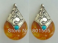 a pair TIBETAN SILVER BEESWAX AMBER TURQUOISE PENDANT w FREE CHAIN