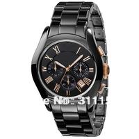 Post FreeShipping! 2013 New Style luxury black Ceramics mens quartz Chronograph watch AR1410+ gift box