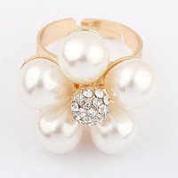 Min.order is $10 (mix order) 22D22 Korer fashion Artificial pearls moon type ring wholesale free shipping