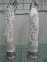 NEW WEDDING BRIDAL ELEGANT GLOVES BEADED FINGERLESS WHITE OR IVORY STRETCH