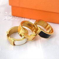 Green tea accessories fashion h letter gold silver enamel ring lovers ring gift
