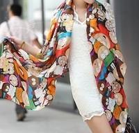 2013 fashion scarf silk scarf dwarfs pattern  ladies scarf, shawl   H-010