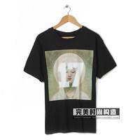 new style men women mary print short sleeve t-shirt shirts 100% cotton tees blouse lover tees black white