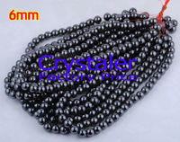 Free Shipping! 210pcs/Lot Black Hematite Round Loose Beads 6mm Fit Shamballa Bracelet Necklace