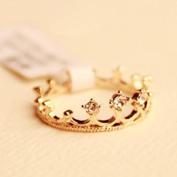 Fashion rhinestone golden crown rings Free shipping Min.order $15 mix order