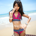 2013 New Sexy Women Bikini Swimwear &amp; Swimsuit Beachwear With Inside Pads Indian Flower Red &amp;Blue Color M L XL Free shipping