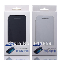 Battery Housing Leather Case For Samsung Galaxy S4 I9500 SIV Back Cover Flip 10 colors with Retail Box in stock