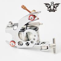 Professional Tattoo  Machine Gun Silver Color US dollar Coils Free Shipping