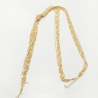 Min.Order Is $10(Mix Order)Free Shipping Fashionable upscale women gold knotted multilayer tassel long necklace/sweater chain