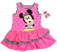 2013New!Free shipping,Wholesale Summer 4pcs  girl's dress, Cartoon  Minnie girls sleeveless dress,Children's fashion cute dress