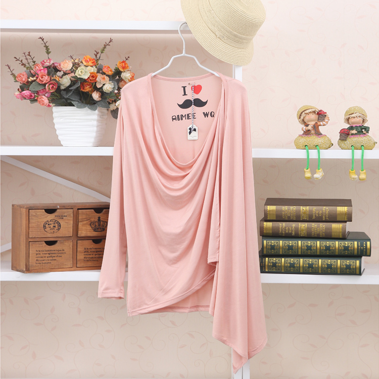 2013 spring and summer irregular open front pullover tie candy color medium-long long-sleeve cardigan female(China (Mainland))