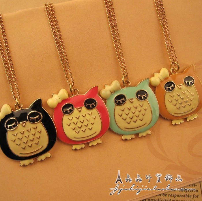 Min. Order 10$ +Mix Order N4060 Fashion Colorful Oil drop owl necklace, Japan style Sleep owl drops of oil necklace(China (Mainland))