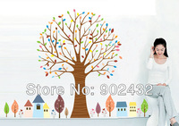 2013 New Design Vinyl Wall Stickers Colorful Trees and House Giant Home decoration Wall decals 155 * 210CM
