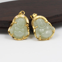 New genuine 18K gold Inlaid Jade Jade Buddha Pendant Jade Jade Buddha pendant necklace A cargo femal