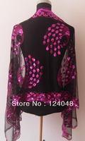 black/hot pink Gorgeous Paillette Women's Silk Sequin peafowl Shawl/Scarf Wrap Free Shipping