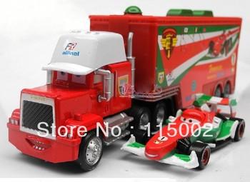 1set=2pcs=1pcs trucks + 1pcs small car Pixar Cars 2 alloy and plastic Francesco Bernoulli toy car/plastic Mack truck toy