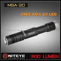 1PC Niteye MSA20 Cree XM-L U2 2xAA 1.5v SS Bezel Magnetic Control Wateprofo IPX-8 Standard Camping Hiking LED Flashlight Torch