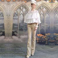Beige lace decoration slim tight low-waist trousers speaker