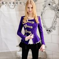 2013 spring purple luxury diamond decoration velvet short jacket