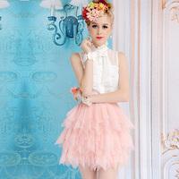 White xiangpin lace slim stand collar ruffle tight-fitting sleeveless women's shirt