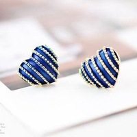 (Min.order is $10 ) Fashion Europe stripe heart earrings !Free shipping for Min.Order $10 !!!  E2093