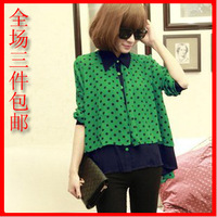 free shipping Fashion polka dot 2013 cloak color block chiffon shirt 9763--h02