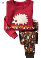 FREE SHIPPING----boy and girl pajama set autumn winter wear long sleeves sleepwear nightclothes cartoon  hedgehog 1pcs 0422-32