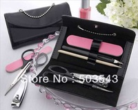 "Free shipping 50pcs/lot ""Little Black Purse"" Patent-Leather Five-Piece Manicure Set to North American by Fedex"