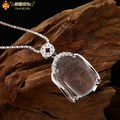 Qi 925 pure silver natural white crystal necklace diamond Women buddha head