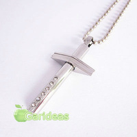 Free shipping +Wholesale  Fashion Silver Stainless Steel Cross Charm Pendant Necklace New Gift Item ID:3086