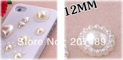 wholesale DIY white flower pearl 12mm Artificial beads for cellphone mobile phone cases scrapbook jewelry decorations(China (Mainland))