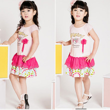 Free Shipping Kids Fashion Tiered Dresses Girls Comfortable Pretty Dress K0467(China (Mainland))
