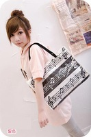 Canvas sets of plastic note pattern bags note music handbag shoulder bag canvas bag the notes