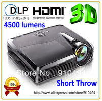 Top quality 4500lumens handheld HD 1080p 3D projector,real shutter 3D dlp home theater projector  for 300 inch screen