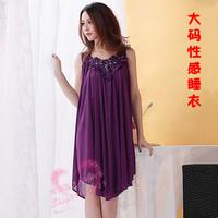 Plus size spaghetti strap sleepwear female viscose loose sexy temptation sleepwear Women sexy nightgown XXXL ,Free Shipping