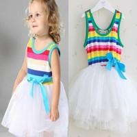 wholesale infant clothing 4pcs/lot 2014 Summer Girl's Rainbow Dresses Baby Dresses girls Bow Wide Stripe Tutu dresses 3 colors