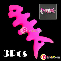 3 pcs Silicone Rubber Fish Bone Earphone Cord Cable Winder [1106|01|03]