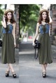Summer Dress 2013 Korea Splicing Denim Dress For Women High Waist Tops Mini Dress WF13042402