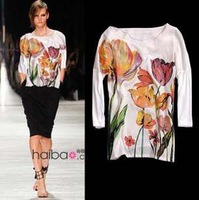Printed Flowers Brand Love New Fashion Ladies Tops Tees Three Quarter Sleeves Floral White t shirt Women 2013