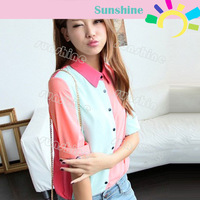 Fashion Sexy Women Blouse Tops Lapel Splicing Chiffon Long Sleeve Tops Shirt  Free Shipping 10852
