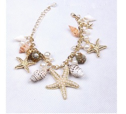 Fine Fashion Jewelry Beach Sea Star Sea Snail Peals Combined Charming Gold Plated Alloy Chain Bracelet Cheap Wholesale(China (Mainland))